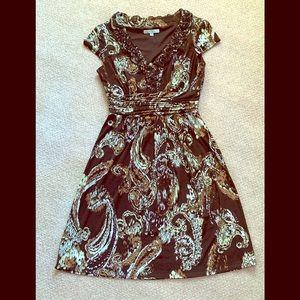 Sandra Darren Brown Paisley Pattern Dress Women 8
